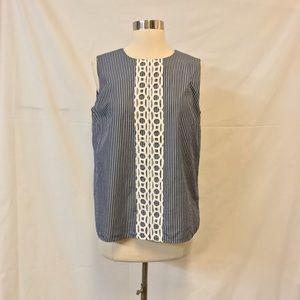 C Wonder Blue & White Striped Sleeveless Blouse